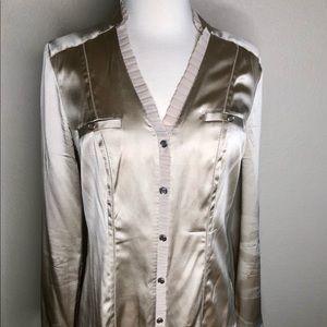 WHBM Silk Stretch Taupe Tan blouse shirt